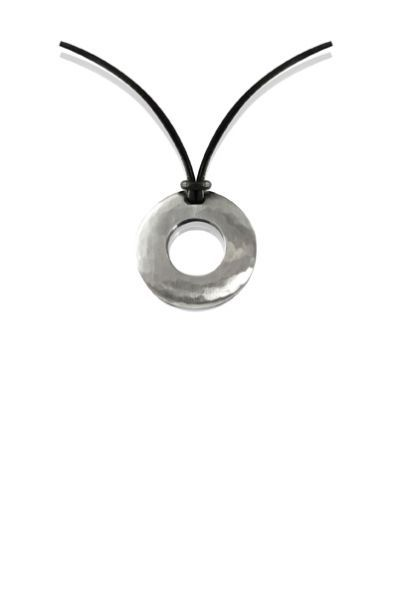 Forged round pendant with leather necklace